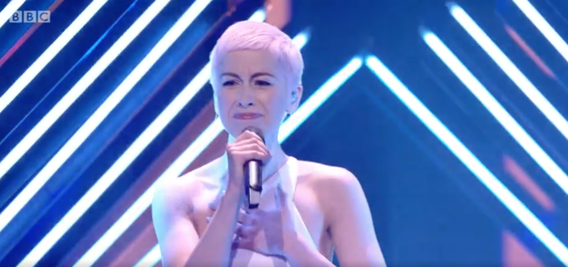 SuRie at the end of her performance