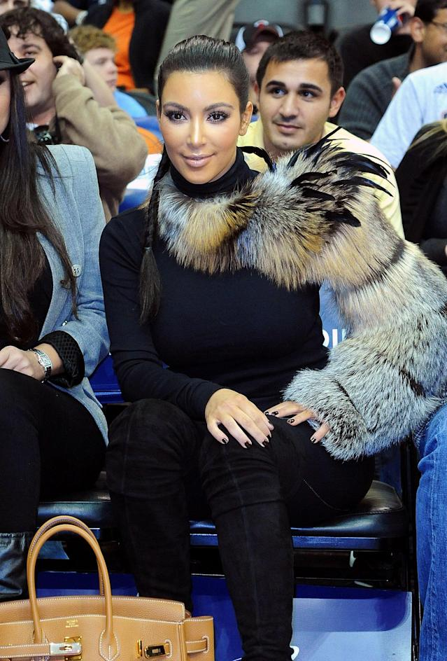 Kim Kardashian attends the Miami Heat versus New Jersey Nets Game at Prudential Center on Oct. 31, 2010, in Newark. (Photo: Getty Images)