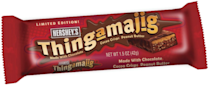<p><strong>Hershey's Thingamijig</strong></p><p>Released in 2009 as a limited edition sister bar to Hershey's Whatchamacallit, Thingamajig bars were made of cocoa-flavored rice crisps topped with a strip of peanut butter and then covered in a layer of Hershey's chocolate. </p>