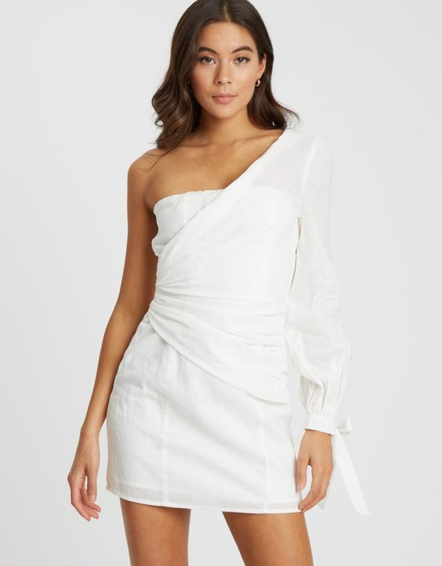 Women's white linen mini asymmetrical dress on sale from The Iconic