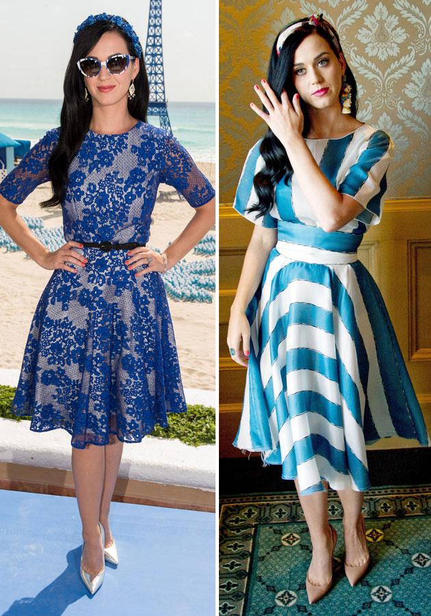 """<b>Katy Perry </b><br><br>The Smurfs 2 star showed off her spring style in a blue lace Monique Lhuillier SS13 frock and a <a target=""""_blank"""" href=""""http://uk.lifestyle.yahoo.com/katy-perry-summer-of-sony-cancun-mexico-fashion-style-striped-outfit--103015718.html"""">striped</a> Dolce & Gabbana SS13 dress at the <a target=""""_blank"""" href=""""http://uk.lifestyle.yahoo.com/katy-perry-summer-of-sony-cancun-mexico-fashion-style-striped-outfit--103015718.html"""">Summer of Sony</a> event in Cancun, Mexico.<br><br>[Getty]"""