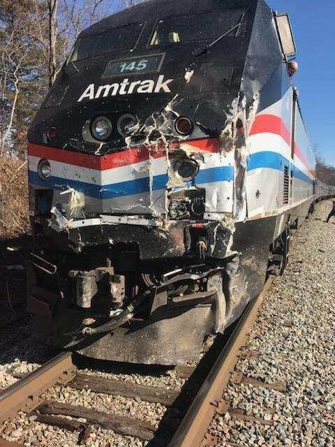<p>A handout photo made available by US Representative Jeff Denham shows damage to a train after it hit a garbage truck near Crozet, Va. on Jan. 31, 2018. The train was taking house and senate republicans to a retreat in Greenbrier, West Va. (Photo: Jeff Denham/EPA-Shutterstock) </p>