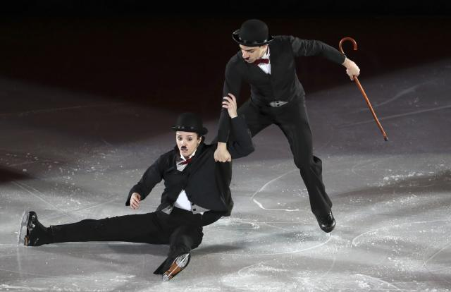 Figure Skating - Pyeongchang 2018 Winter Olympics - Gala Exhibition - Gangneung Ice Arena - Gangneung, South Korea - February 25, 2018 - Anna Cappellini and Luca Lanotte of Italy perform. REUTERS/Lucy Nicholson