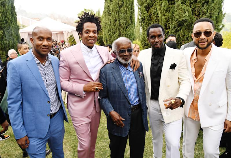 LOS ANGELES, CALIFORNIA - JANUARY 25: (L-R) Alex Avant, Jay-Z, Clarence Avant, Sean Combs and John Legend attends 2020 Roc Nation THE BRUNCH on January 25, 2020 in Los Angeles, California. (Photo by Kevin Mazur/Getty Images for Roc Nation)