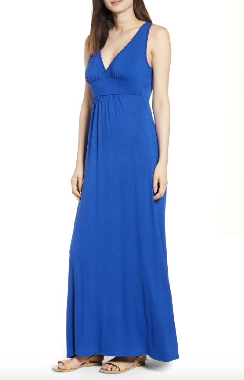 V-Neck Jersey Maxi Dress in Blue