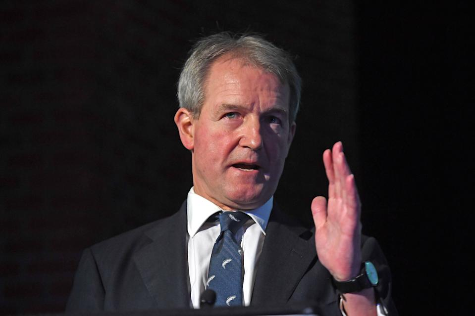 Owen Paterson during a press conference in central London with former Ukip leader Nigel Farage where they launched a paper on the impact of Brexit on the fisheries industry. (Photo by Victoria Jones/PA Images via Getty Images)