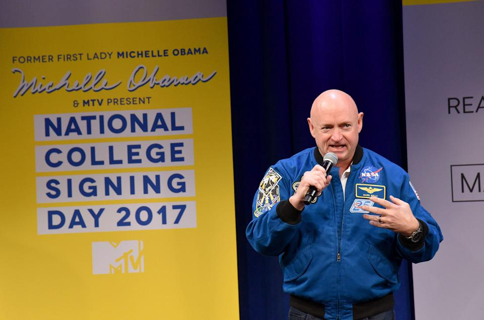 NEW YORK, NY - MAY 05:  Astronaut Mark Kelly speaks onstage during MTV's 2017 College Signing Day With Michelle Obama at The Public Theater on May 5, 2017 in New York City.  (Photo by Bryan Bedder/Getty Images for MTV)