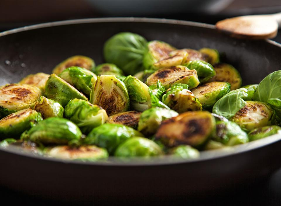Roasted brussels sprouts in a pan