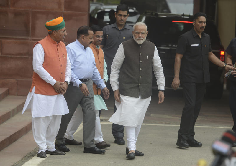 NEW DELHI, INDIA JUNE 17: Prime Minister of India, Narendra Modi arrives for first Parliament Session of the 17th Lok Sabha in New Delhi. (Photo by Pankaj Nangia/India Today Group/Getty Images)