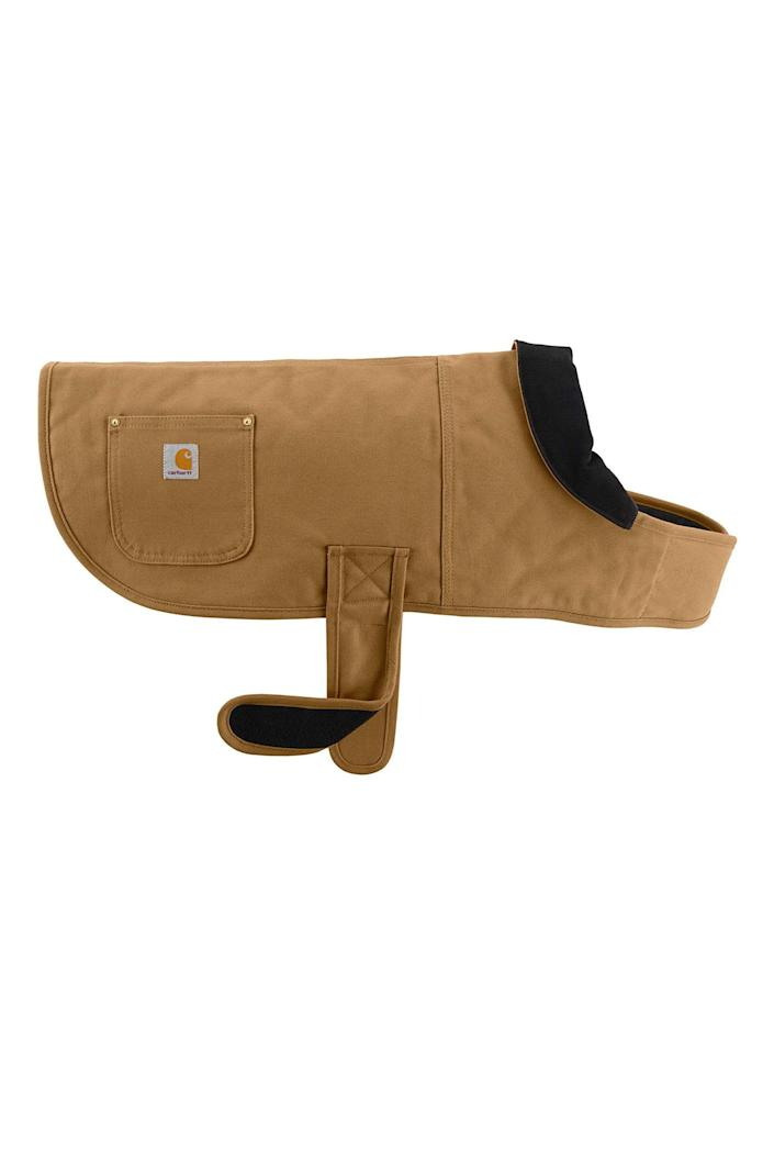 """<p><strong>Carhartt</strong></p><p>amazon.com</p><p><strong>$39.99</strong></p><p><a href=""""https://www.amazon.com/dp/B07NS9TBNM?tag=syn-yahoo-20&ascsubtag=%5Bartid%7C10051.g.23654253%5Bsrc%7Cyahoo-us"""" rel=""""nofollow noopener"""" target=""""_blank"""" data-ylk=""""slk:Shop Now"""" class=""""link rapid-noclick-resp"""">Shop Now</a></p><p>Carhartt is worn by mechanics and pale freelance photographers in Brooklyn. Now ironically hip dogs can get in on the action, too.</p>"""
