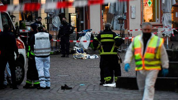 PHOTO: Police and ambulances work at the scene where a car drove into pedestrians in Trier, southwestern Germany, on Dec. 1, 2020. (Jean-christophe Verhaegen/AFP via Getty Images)