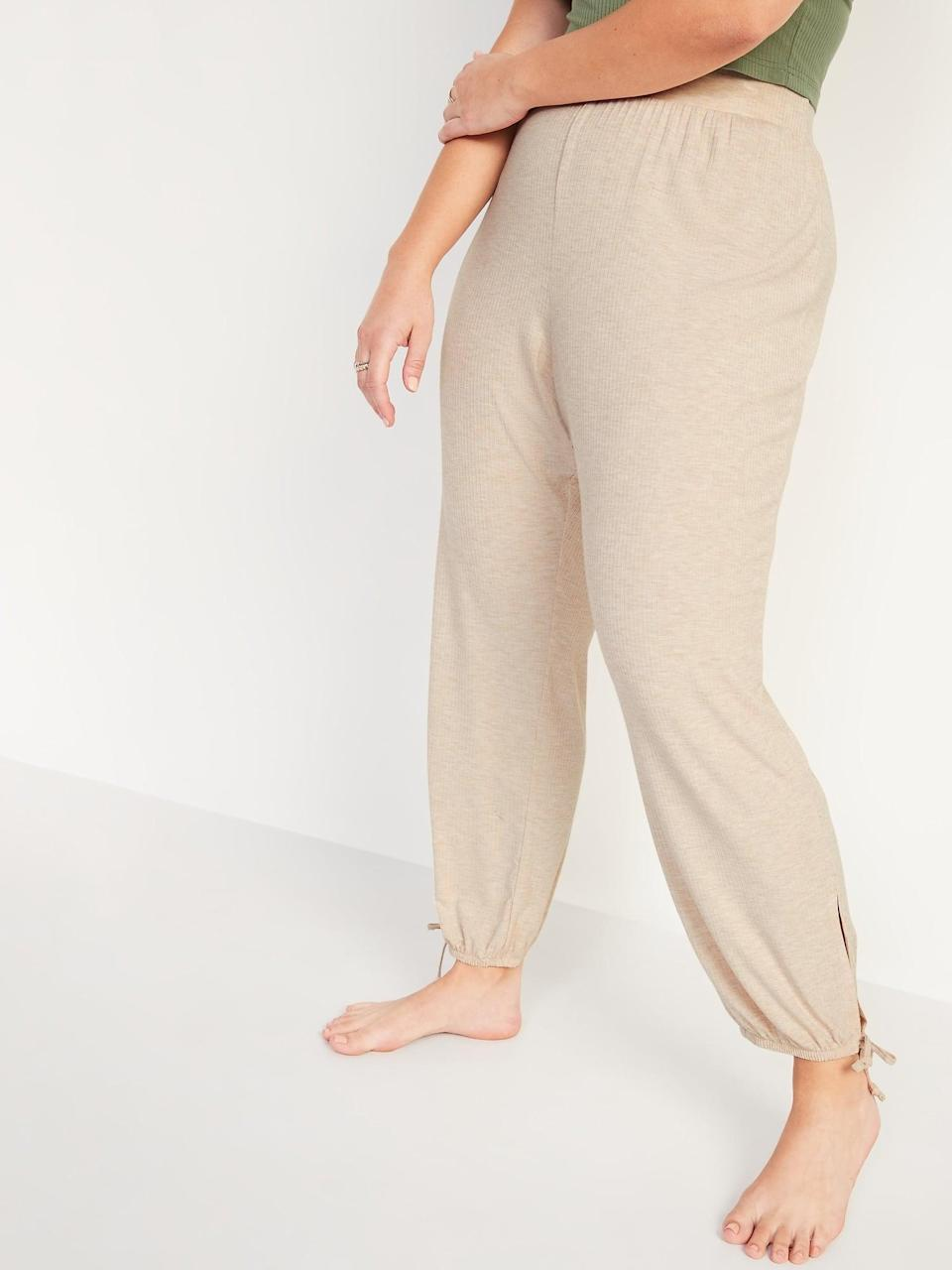 <p>It's high time to channel your inner Princess Jasmine in these drop-crotch <span>Old Navy Mid-Rise Sunday Sleep Ribbed Pajama Pants</span> ($30) with cute drawstring ankle ties.</p>