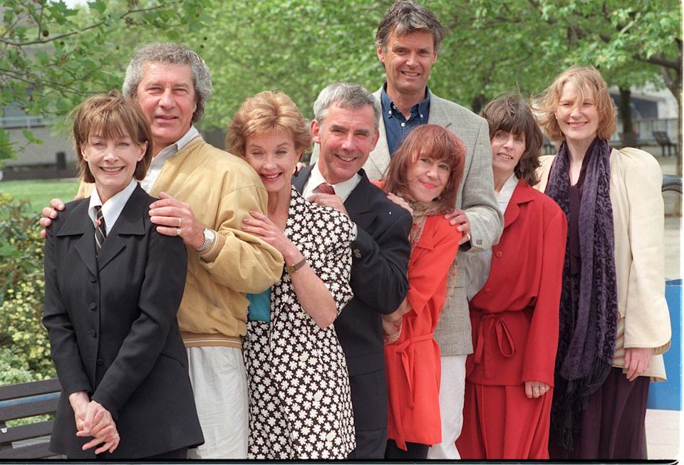 Members of the cast of the long-running ITV period drama in London this morning (Tuesday) to publicise at upcoming documentary, Upstairs, Downstairs - Revisited. (L-R) Jean Marsh (co-creatorand Rose), Gareth Hunt (Frederick, the Footman), Nicola Pagett (Elizabeth Bellamy), Christopher Beeny (Edward, the Footman), Jenny Tomasin (Ruby, the Kitchen Maid), Simon Williams (James Bellamy), Evin Crowley (Emily, the Kitchen Maid) and Hazel Wynn Owen (Hazel Bellamy).   (Photo by Stefan Rousseau - PA Images/PA Images via Getty Images)