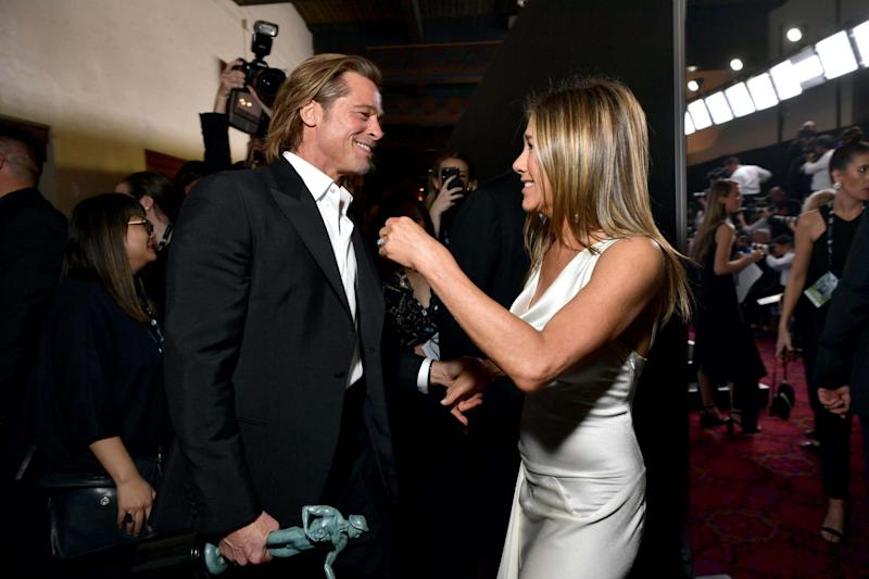 Brad Pitt and Jennifer Aniston reuniting at the SAG Awards (Getty Images for Turner)