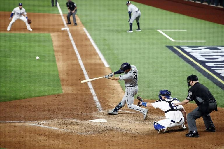 Brandon Lowe blasts a two-run home run in the fifth inning to help power the Tampa Bay Rays to a series-levelling victory over the Los Angeles Dodgers in the World Series