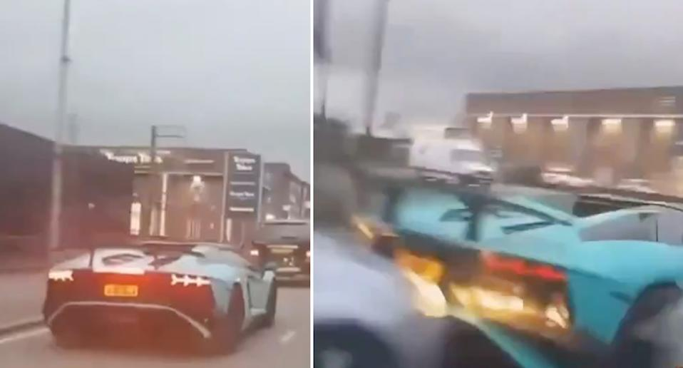A Lamborghini and a Ford collide on a London road.