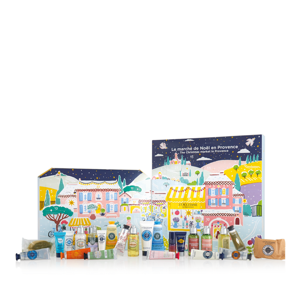 """<p>loccitane.com</p><p>$74</p><p><a class=""""link rapid-noclick-resp"""" href=""""https://go.redirectingat.com?id=74968X1596630&url=https%3A%2F%2Fwww.loccitane.com%2Fen-us%2Fsignature-advent-calendar-10CACLA20.html&sref=https%3A%2F%2Fwww.townandcountrymag.com%2Fstyle%2Fbeauty-products%2Fnews%2Fg2919%2Fbeauty-advent-calendars%2F"""" rel=""""nofollow noopener"""" target=""""_blank"""" data-ylk=""""slk:SHOP NOW"""">SHOP NOW</a></p><p><strong>Best For: </strong>The person who considers """"French Girl"""" to be the ultimate style goal. </p><p><strong>What's Inside:</strong> 24 French favorites like shower and skin oils, hand creams, shampoo, hair masks, and more.</p>"""