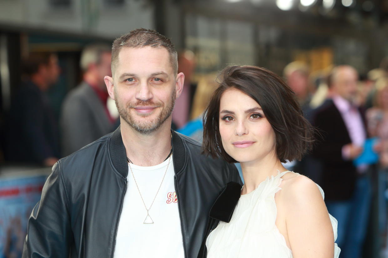 LONDON, UNITED KINGDOM - JULY 04: Tom Hardy and Charlotte Riley attend the 'Swimming With Men' UK Premiere at The Curzon Mayfair on July 4, 2018 in London, England.  PHOTOGRAPH BY Jamy / Barcroft Images (Photo credit should read Jamy / Barcroft Media via Getty Images)