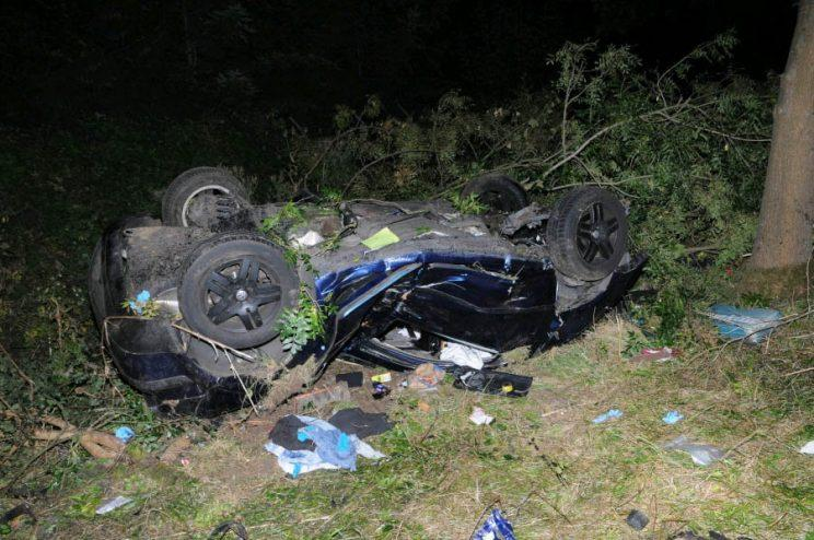 This mangled wreckage is all that remains of a car which hit a tree at 90mph - and the two men inside miraculously survived. See SWNS story SWWRECK; 'Jack the Lad' Alexander Johnson lost control of his VW Golf as he chased another motorist after 'banter' at a McDonald's Drive-Thru. Johnson, 23, and passenger Simon Absolam were left dangling upside down by their seatbelts in the crushed car but incredibly both survived. Johnson had a second lucky escape when he walked free from court with a suspended prison sentence despite almost killing himself and his pal. A judge said his car looked like it had gone through a crusher and police released the photos of the wreck as a warning to other drivers. Oxford Crown Court heard how Johnson, a chef, had '
