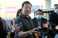FILE - In this Thursday, Aug. 20, 2020, file photo, Connecticut Attorney General William Tong speaks to the media during a watch party for the Democratic National Convention at Dunkin' Donuts Park, home of the minor league baseball team the Hartford Yard Goats in Hartford, Conn. The end of the Purdue Pharma bankruptcy case has left a bitter taste for those who wanted to see more accountability for the Sackler family. They will pay more than $4 billion under the settlement but also will escape any future liability over the nation's opioid crisis. (AP Photo/Jessica Hill, File)