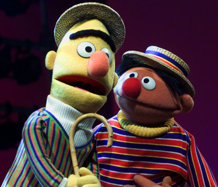 """FILE - In this Aug. 22, 2001, file photo, muppets Bert, left, and Ernie, from """"Sesame Street,"""" are shown in New York. The popular children's TV show is celebrating their 50th season. (AP Photo/Beth A. Keiser, File)"""