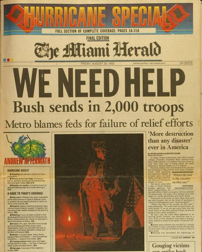 FOR HURRICANE ANDREW 10TH ANNIVERSARY STORIES -- COPIES OF 1992 FRONT PAGES FROM THE MIAMI HERALD
