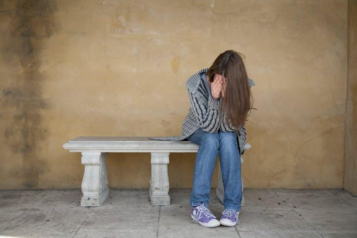 """<span class=""""caption"""">Sharing about tragedy online can help people feel less alone.</span> <span class=""""attribution""""><a class=""""link rapid-noclick-resp"""" href=""""https://www.shutterstock.com/image-photo/lonely-young-woman-crying-on-bench-113619055"""" rel=""""nofollow noopener"""" target=""""_blank"""" data-ylk=""""slk:Paulius Brazauskas/Shutterstock.com"""">Paulius Brazauskas/Shutterstock.com</a></span>"""