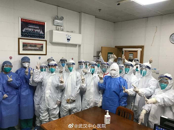 Medical staff at the Central Hospital of Wuhan, during the coronavirus outbreak.