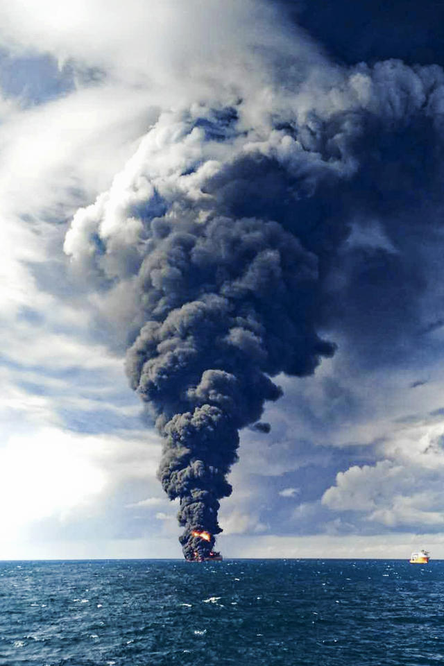<p>Smokes and frames from the burning Iranian oil tanker Sanchi in the East China Sea off the eastern coast of China, Jan. 14, 2018. The fire from the sunken Iranian tanker ship in the East China Sea has burned out, a Chinese transport ministry spokesman said Monday, although concerns remain about possible major pollution to the sea bed and surrounding waters. (Ministry of Transport via AP) </p>