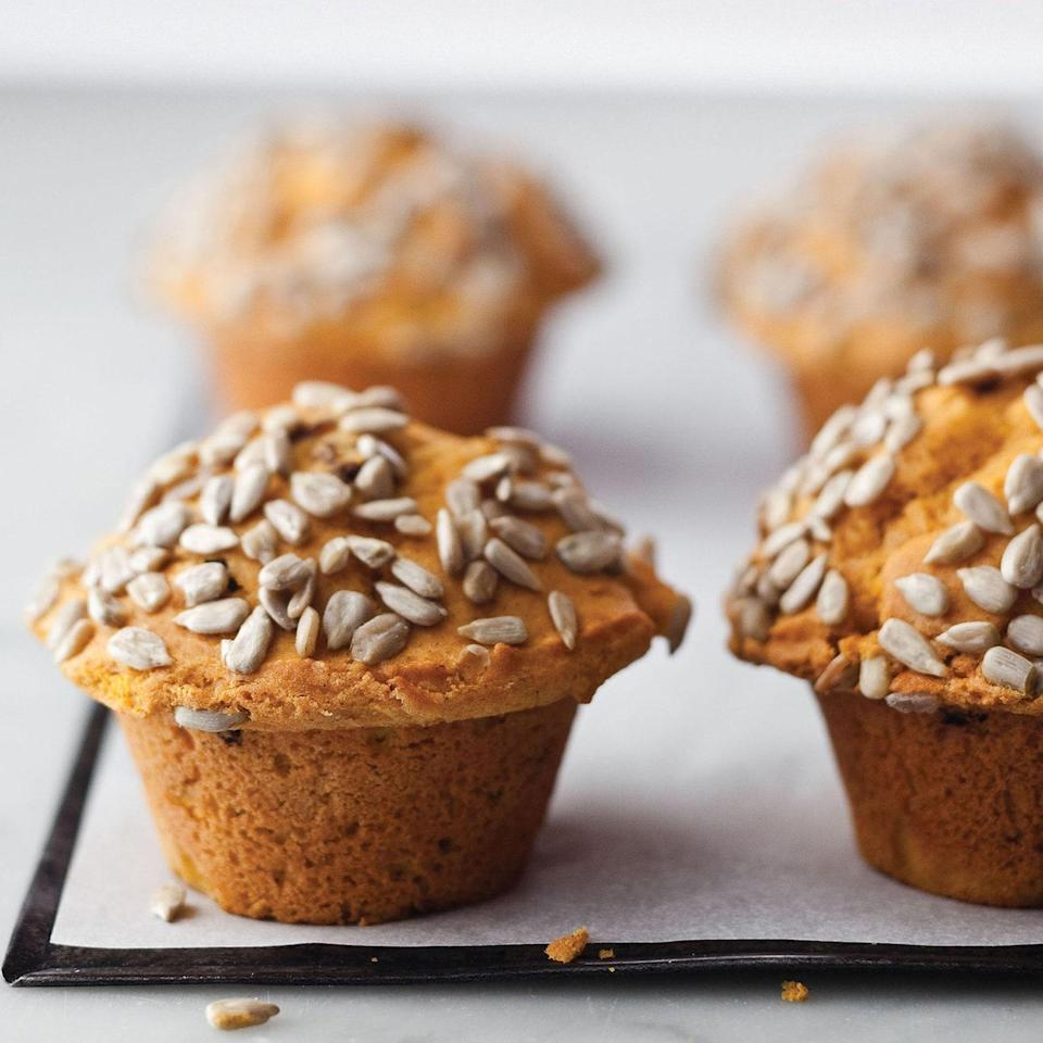 "These muffins are actually more like light-textured, attractive, pastel orange mini-cake, with a big sprinkling of sunflower seeds. There's the perfect mid-morning snack (or lunchbox treat). <a href=""https://www.epicurious.com/recipes/food/views/pumpkin-muffins-362109?mbid=synd_yahoo_rss"" rel=""nofollow noopener"" target=""_blank"" data-ylk=""slk:See recipe."" class=""link rapid-noclick-resp"">See recipe.</a>"