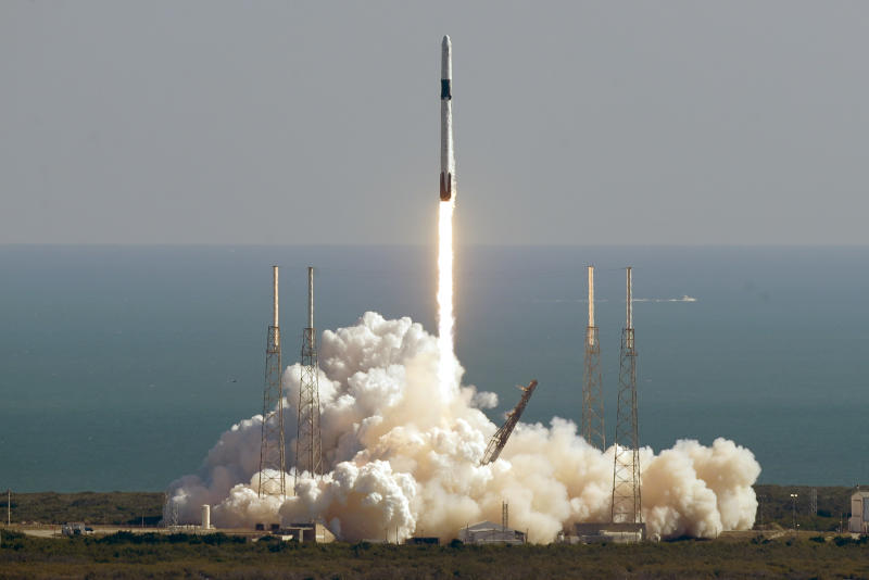 A Falcon 9 SpaceX rocket on a resupply mission to the International Space Station lifts off from Space Launch Complex 40 at Cape Canaveral Air Force Station in Cape Canaveral, Fla., Thursday, Dec. 5, 2019. (AP Photo/John Raoux)