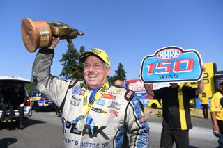 John Force celebrates after winning the milestone 150th win of his career in Seattle on August 4, 2019. Photo: NHRA.