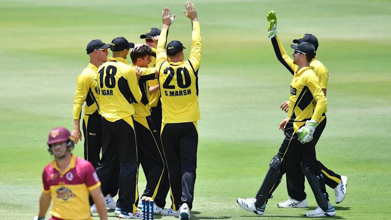 Western Australia celebrate Jhye Richardson's dismissal of (c) of Queensland's Jack Wildermuth