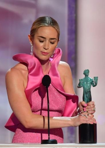 """Emily Blunt wins the SAG Award for best supporting film actress in """"A Quiet Place"""" -- which was directed by her actor-husband John Krasinski"""