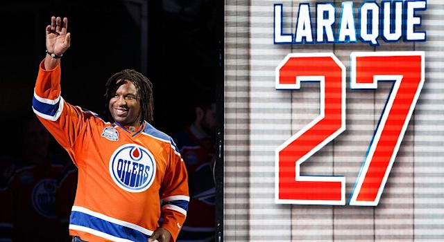 Georges Laraque spent eight seasons with the Oilers. (Photo by Codie McLachlan/Getty Images)