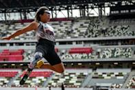 Kaede Maegawa of Japan competed in the women's long jump at a para-athletics test event for the Tokyo Paralympics