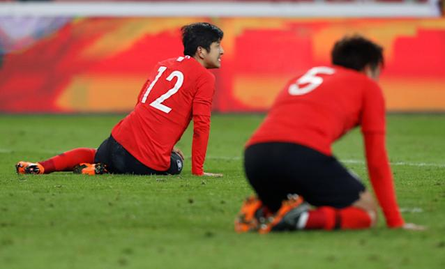 Soccer Football - International Friendly - Poland vs South Korea - Silesian Stadium, Chorzow, Poland - March 27, 2018 South Korea's Park Joo-Ho looks dejected after the match REUTERS/Kacper Pempel