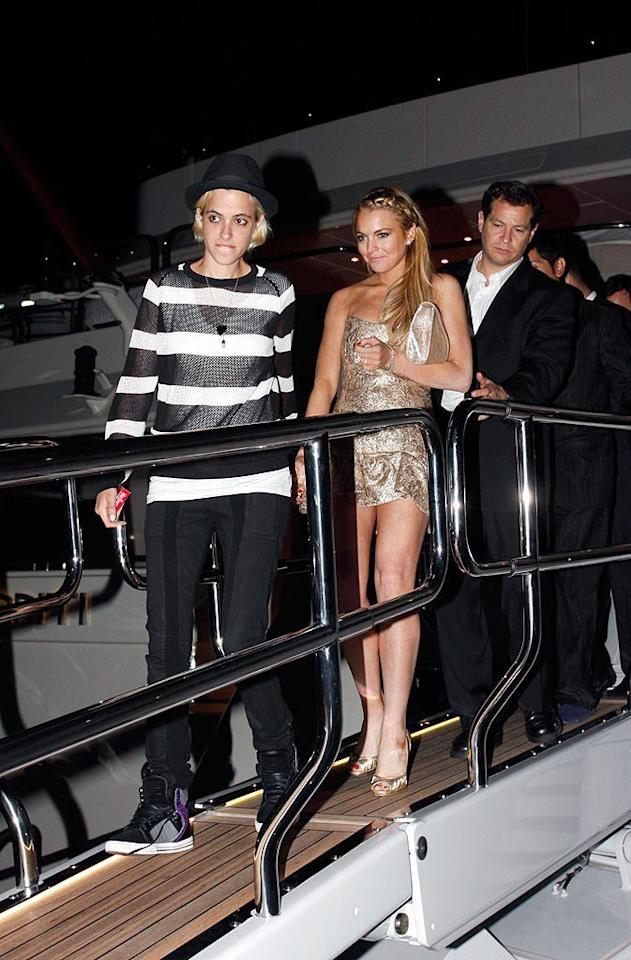 "Lindsay Lohan and her girlfriend Samantha Ronson had tongues wagging at Cannes after they were seen kissing and holding hands during P. Diddy's yacht party. KCSPresse/<a href=""http://www.splashnewsonline.com"" target=""new"">Splash News</a> - May 23, 2008"