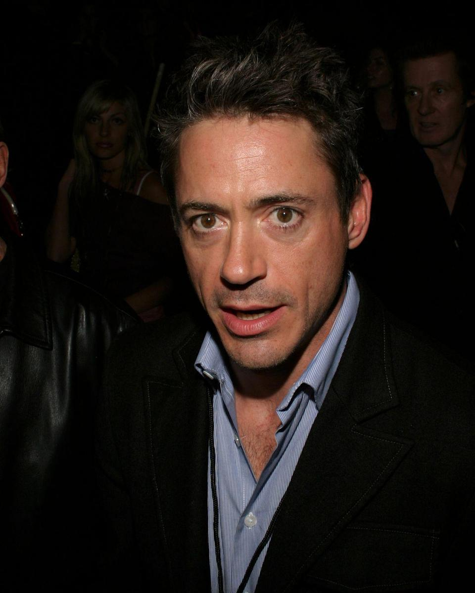 <p>Though he often wears tinted glasses or sunglasses that make it difficult to tell, Downey's mesmerizing gaze is heightened by his partial heterochromia, showing chocolate-brown flecks in each eye.</p>