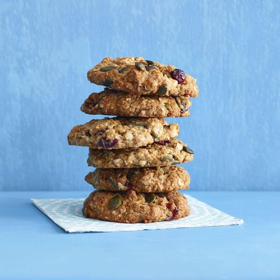 """<p>With whole-wheat flour, nuts, grains and dried fruit, these not-too-sweet cookies make a great breakfast treat or on-the-go snack.</p><p><em><a href=""""https://www.goodhousekeeping.com/food-recipes/a15753/hearty-oat-cookies-recipe-wdy0914/"""" rel=""""nofollow noopener"""" target=""""_blank"""" data-ylk=""""slk:Get the recipe for Hearty Oat Cookies »"""" class=""""link rapid-noclick-resp"""">Get the recipe for Hearty Oat Cookies »</a></em> </p>"""