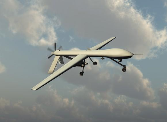 A military drone flying