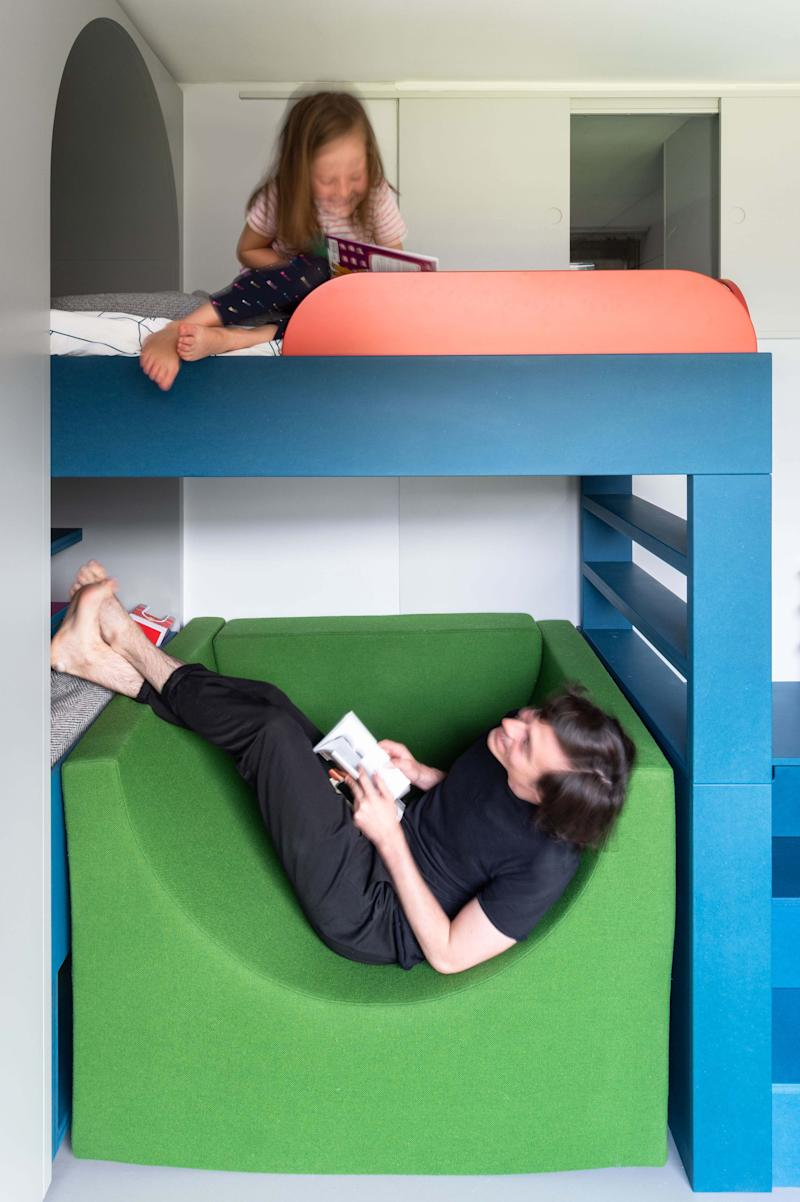 """Because many elements are freestanding, Ben points out, """"the upholstered seat can be positioned under the bed or elsewhere in the room, freeing up the space under the bed for play and to access the additional storage located there."""""""