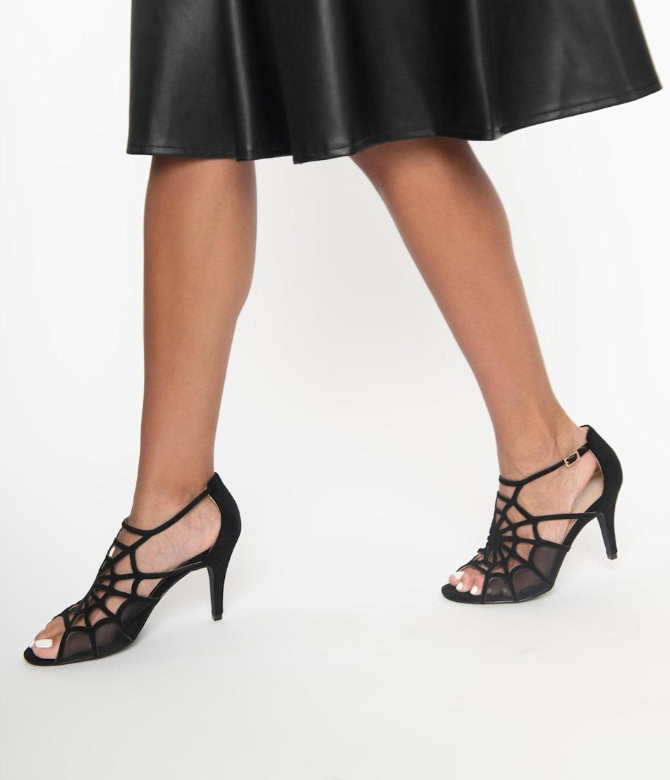 <p>There's not a single spider that could scare us away from these <span>Unique Vintage Black Spider Web Charlotte Heels</span> ($66). </p>