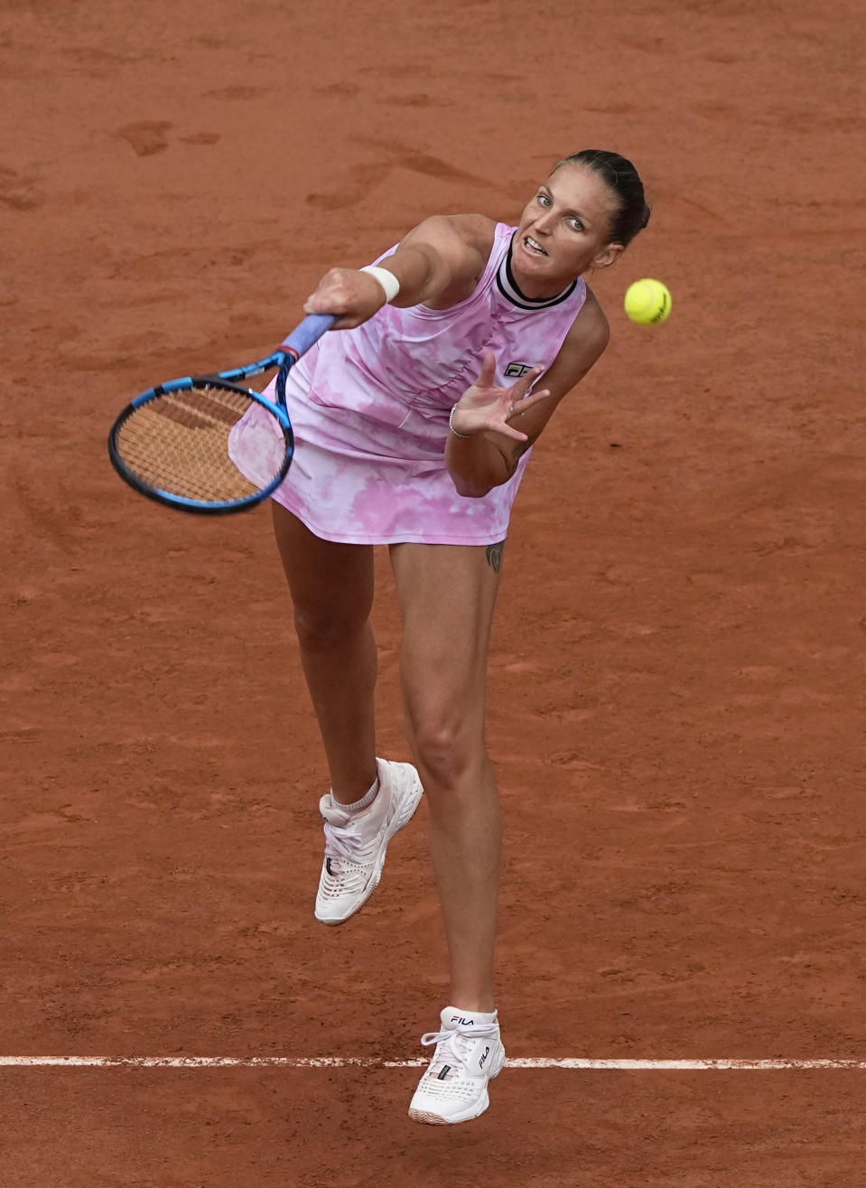 Czech Republic's Karolina Pliskova serves to United States's Sloane Stephens during their second round match on day 5, of the French Open tennis tournament at Roland Garros in Paris, France, Thursday, June 3, 2021. (AP Photo/Michel Euler)