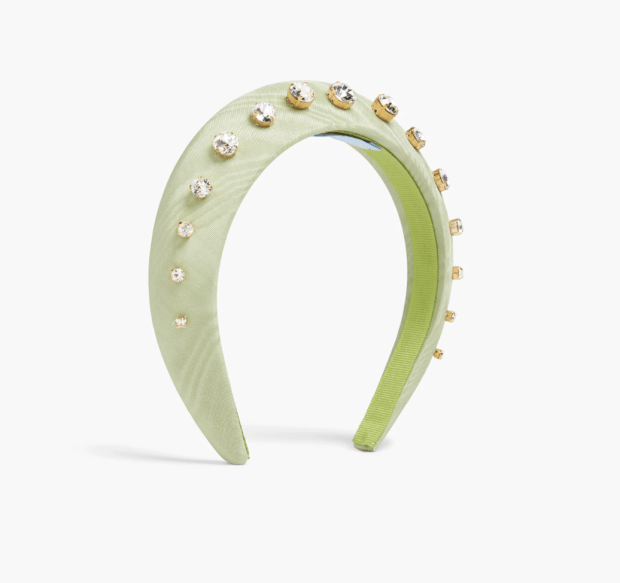 """<p>Hill House Home The Jeweled Halo Headband, $125, <a href=""""https://rstyle.me/+ORI1vW7BQsZrmWG41hm_og"""" rel=""""nofollow noopener"""" target=""""_blank"""" data-ylk=""""slk:available here"""" class=""""link rapid-noclick-resp"""">available here</a><br></p>"""