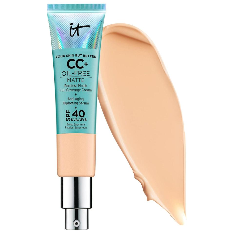 """<p>""""My WFH makeup routine is a minimalist take on the nearly ten-step regimen you'd usually catch me doing around this time every year. I've cut it down to only a few key products that help me get a similar finish with half the steps. First, I'm still rocking a full-faced complexion as often as I can with the <a href=""""https://www.popsugar.com/buy/Cosmetics-CC-Cream-Oil-Free-Matte-SPF-40-566474?p_name=IT%20Cosmetics%20CC%2B%20Cream%20Oil-Free%20Matte%20with%20SPF%2040&retailer=sephora.com&pid=566474&price=40&evar1=bella%3Aus&evar9=47399253&evar98=https%3A%2F%2Fwww.popsugar.com%2Fphoto-gallery%2F47399253%2Fimage%2F47400975%2FAlanna-Martine-Kilkeary-Associate-Beauty-Editor-Makeupcom&list1=makeup%2Cbeauty%20routine%2Cbeauty%20at%20home&prop13=api&pdata=1"""" class=""""link rapid-noclick-resp"""" rel=""""nofollow noopener"""" target=""""_blank"""" data-ylk=""""slk:IT Cosmetics CC+ Cream Oil-Free Matte with SPF 40"""">IT Cosmetics CC+ Cream Oil-Free Matte with SPF 40</a> ($40). It helps keep my skin shine-free during a day of screentime, into an evening happy hour (since there's really no differentiation here anymore). Next, I've swapped my typical eyeshadow for a quicker, more glowy approach: a tap of the <a href=""""https://www.popsugar.com/buy/Tower-28-BeachPlease-Tinted-Lip-Cheek-Balm-Magic-Hour-527671?p_name=Tower%2028%20BeachPlease%20Tinted%20Lip%20%2B%20Cheek%20Balm%20in%20Magic%20Hour&retailer=sephora.com&pid=527671&price=20&evar1=bella%3Aus&evar9=47399253&evar98=https%3A%2F%2Fwww.popsugar.com%2Fphoto-gallery%2F47399253%2Fimage%2F47400975%2FAlanna-Martine-Kilkeary-Associate-Beauty-Editor-Makeupcom&list1=makeup%2Cbeauty%20routine%2Cbeauty%20at%20home&prop13=api&pdata=1"""" class=""""link rapid-noclick-resp"""" rel=""""nofollow noopener"""" target=""""_blank"""" data-ylk=""""slk:Tower 28 BeachPlease Tinted Lip + Cheek Balm in Magic Hour"""">Tower 28 BeachPlease Tinted Lip + Cheek Balm in Magic Hour</a> ($20) all over my lids. I find that this formula is not only easy to apply, but it's perfect for creating a warm, monochr"""
