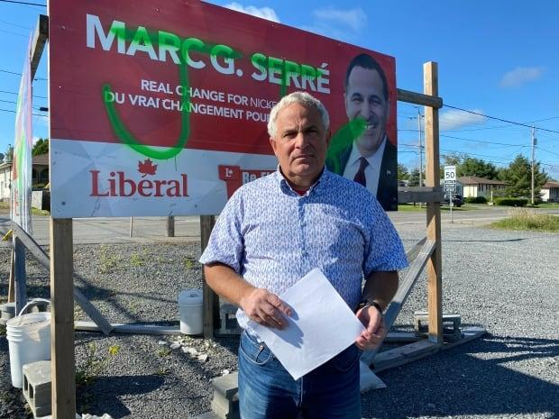 Nickel Belt Liberal candidate Marc Serré was in his campaign office Monday when a woman entered and began yelling at him and his staff, according to Greater Sudbury police. The woman has been charged with assault with a weapon. (Sarah MacMillan/CBC - image credit)