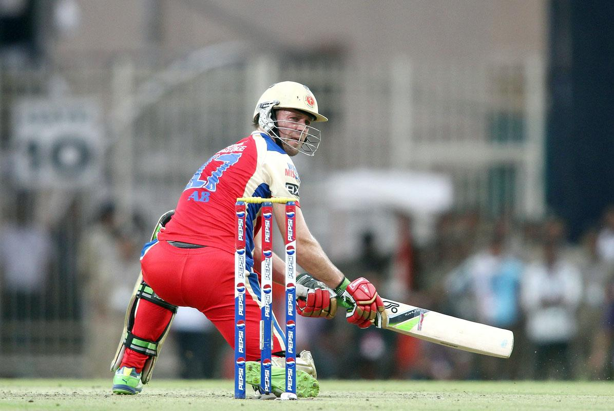 AB de Villiers of the Royal Challengers Bangalore looks back after edging a delivery during match 60 of the Pepsi Indian Premier League between The Kolkata Knight Riders and the Royal Challengers Bangalore held at the JSCA International Stadium Complex, Ranchi, India on the 12th May 2013. (BCCI)