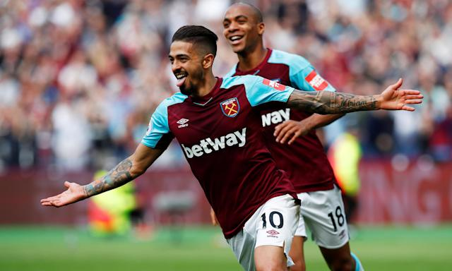 Manuel Lanzini celebrates his first-half strike which opened the scoring for West Ham.