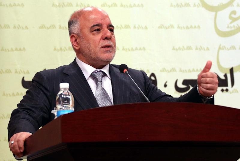 A handout picture released by the Iraqi Prime Minister's office shows Prime Minister Haider al-Abadi delivering a speech during a meeting of ambassadors in Baghdad on March 31, 2015 (AFP Photo/)